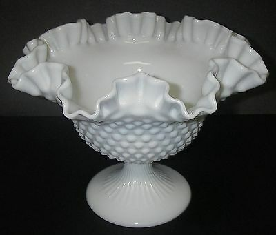 """Fenton Art Glass HOBNAIL Milk Compote Footed Bowl Double Crimped  9 3/8"""""""