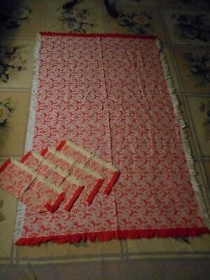 Antique TURKEY RED Damask Fringed REINDEER TABLECLOTH  Jacquard & 4 Napkins