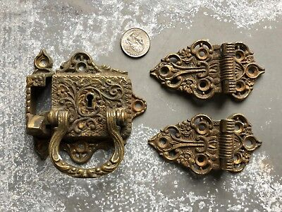 Vintage ornate Victorian cast brass Icebox Ice box latch, catch, hinges 1897
