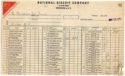 NABISCO National Biscuit Company Rochester NY 1954 Vintage Order Form