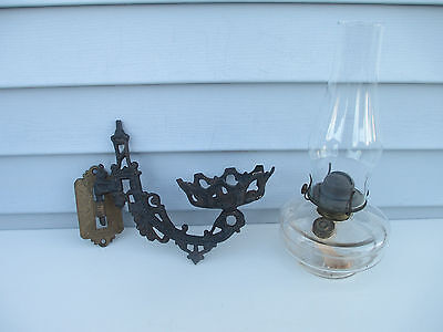 Vintage Oil Lamp with P&A Eagle Burner & Cast Iron Wall Bracket Plume Atwood #8
