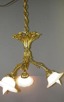Antique Gilded Bronze French Chandelier White Opaline Shades Acanthus Leaves