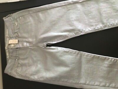 Justice Metallic Jeans Super Skinny Super Mermaid Size 16 R Super Low and Silver