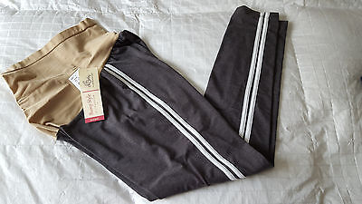 NWT Oh Baby by Motherhood Maternity Lounge  Leggings Sz.L  NEW Grey/White Stripe