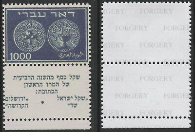 Israel 1433 - 1948 JEWISH COINS  1,000m WITH TABS -  a Maryland FORGERY unused