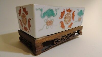 antique 19th chinese porcelain dish bowl divider bats painted display wood old