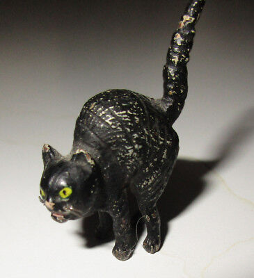 Black Tail  Up Cat  VTG, Antique Metal Miniature Figurine, Halloween