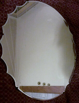 OLD vintage 1940s/50s HAGEMANN scalloped wall MIRROR art DECO Pickup ONLY