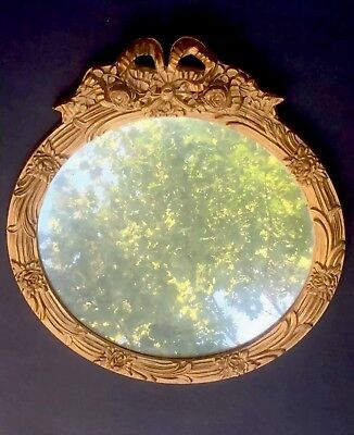 Antique French Empire Victorian Round Ornate Wood Gilt Mirror Frame Chic Roses
