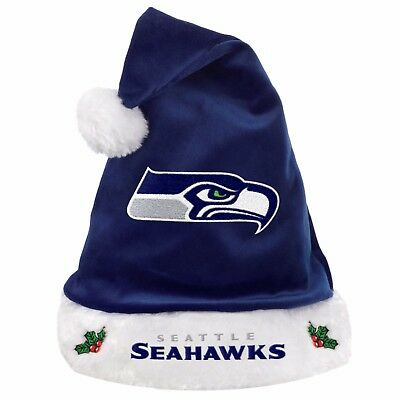 Seattle Seahawks Team Logo Holiday Plush Santa Hat NEW! Christmas Solid Blue