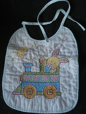 Vintage Infant Finished Cross Stitch Bib Rabbit Train Hearts EUC