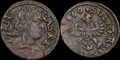 POLAND. Jan of Casimir Hammered Solidus, Regal Eagle, dated 1660