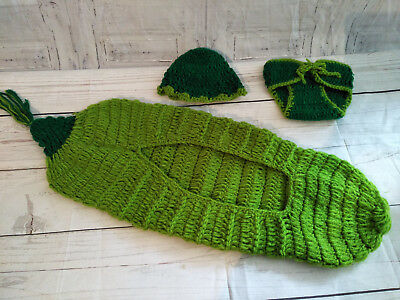 Newborn Baby Pea In Pod Knitted Photo Keepsake Prop Clothes