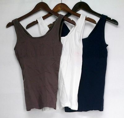 Yummie Tummie Size S/M 3-Pack Seamless 2 Way Brown / Blue / White Camisole New