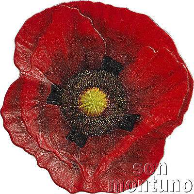REMEMBRANCE POPPY - 1oz Proof-Like Silver Coin in Box+COA - 2017 Cook Islands $5
