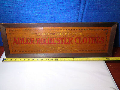 ANTIQUE 1800's ADVERTISING SIGN  **ADLER ROCHESTER CLOTHES**  NEW YORK