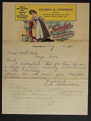 1909 TUBULAR CREAM SEPARATORS LETTERHEAD with HANDWRITTEN LETTER