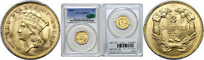1878 Three Dollar Gold Coin PCGS MS-64+ CAC