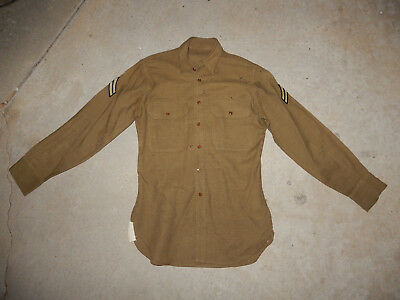 Original 1940 Dated Us Army Mustard Wool Shirt 14 X 33 Without Gas Flaps
