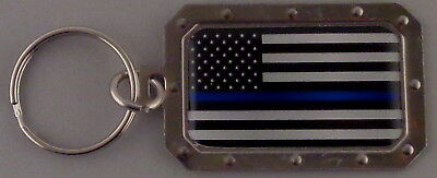 THIN BLUE LINE US Flag Metal Key Ring DOMED IMAGE made in USA police