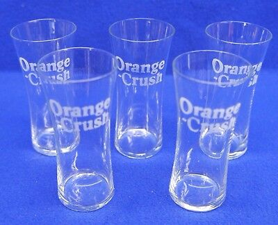 5 Authentic 1930s ORANGE CRUSH GLASSES with SYRUP LINE