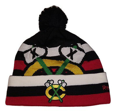 346ba8e96c7 REEBOK CHICAGO BLACKHAWKS Cuffed Knit Beanie with Pom Hat -  15.95 ...