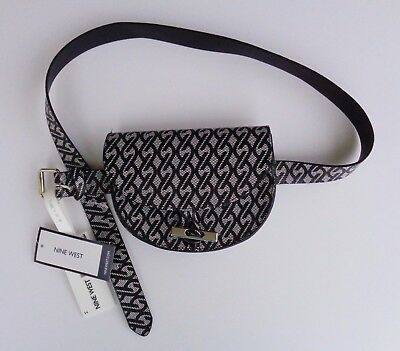 NEW Nine West Waist Belt With Pouch Vacation Trip Fanny Pack Wallet Black White