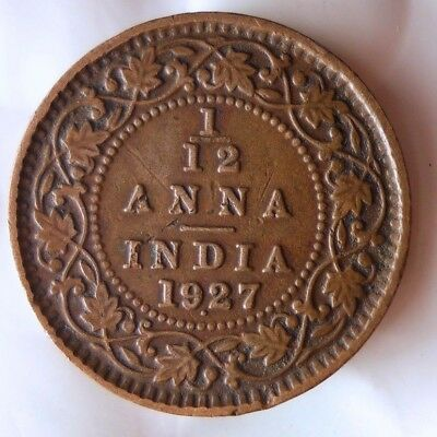 1927 INDIA 1/12 ANNA - High Quality Collectible  -FREE SHIPPING - India Bin #A