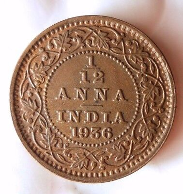 1936 INDIA 1/12 ANNA - High Quality Collectible  -FREE SHIPPING - India Bin #A