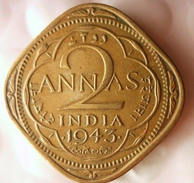 1943 INDIA 2 ANNAS- High Quality Collectible  -FREE SHIPPING - India Bin #A