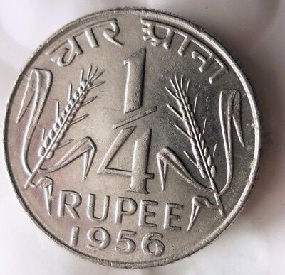1956 1/4 RUPEE  - High Quality Collectible  -FREE SHIPPING - India Bin #A