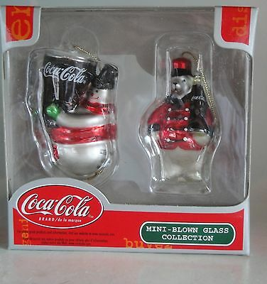 Coca Cola Coke Mini Blown Glass Collection Ornaments 22196