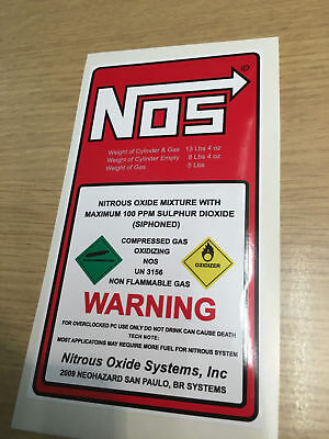 Nitrous Oxide Injection bottle sticker jdm nos drift / drag race Track noz