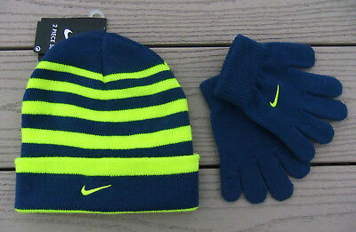 NWT NIKE Little Boys 2pc Cuffed Beanie Hat & Glove Set-Size 4/7 @$20 BLUE/VOLT
