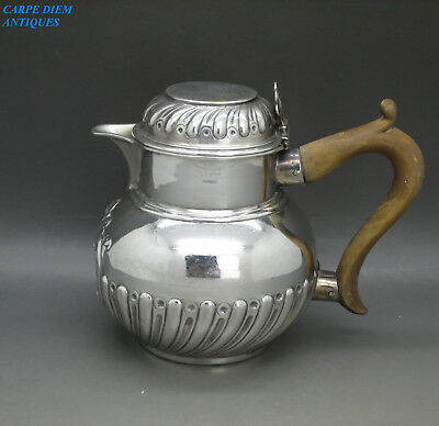 ANTIQUE VICTORIAN HEAVY SOLID STERLING SILVER LIDDED CREAM JUG, CSH, 236g 1892