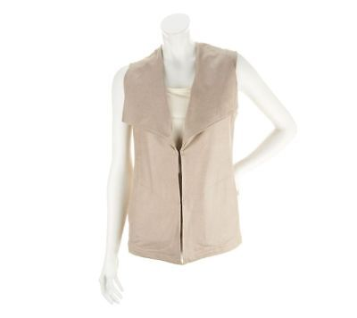 Belle Gray Rinna Distressed Faux Suede Cascade Vest Dark Beige 1X NEW A251679