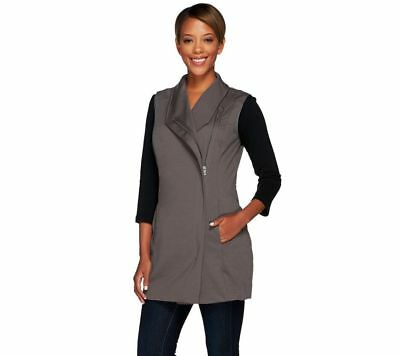 Lisa Rinna Sleeveless Vest Semi-Fit Asymmetric Zipper Charcoal L NEW A268105
