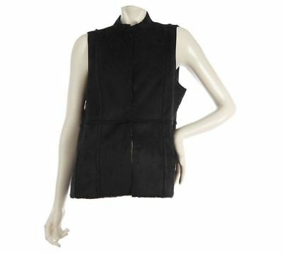 Susan Graver Faux Shearling Reversible Vest Slvless Faux Fur Black L NEW A209954