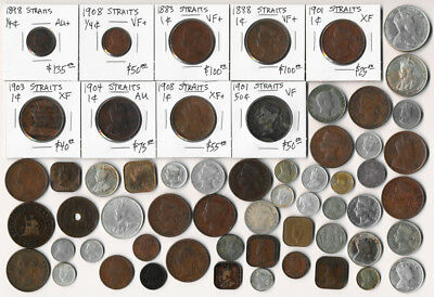 59 Straits Settlements & Other Old Southeast Asia Coins (Must See) No Reserve