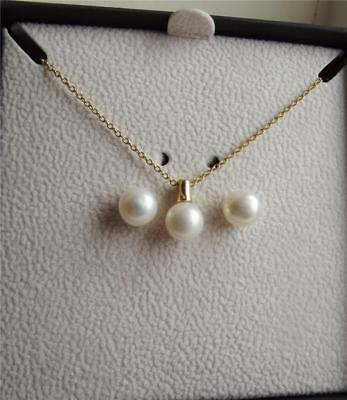 Kyoto Pearl White Cfw Pearl Yellow Gold Plated Sterling Silver Set New Boxed Qvc
