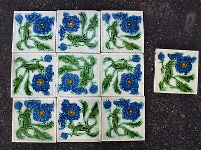Antique Vintage Victorian molded L & T England Flower fireplace Tiles x 10 Set