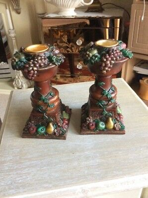 A Pair Of Beautiful Resin Candlesticks Draped With Fruit And Flower Detail # B