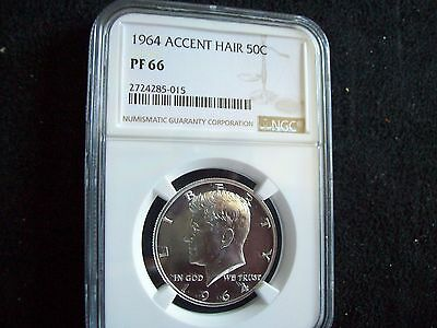 "Gorgeous!! 1964, ""Accented Hair"", Kennedy Half, Certified ""Proof 66"",  By NGC!!"