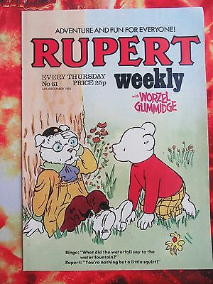 Rupert Weekly Comic. 14 December 1983. Unsold Newsagent Stock. Unread. Nr Mint