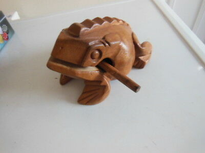 Large Wooden Hollow Croaking Frog - 2 Pieces - Guiro Instrument Sounds/noise