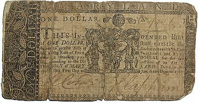 Maryland 1767 One Dollar Or Four Shillings Sixpence Sterling Colonial Currency