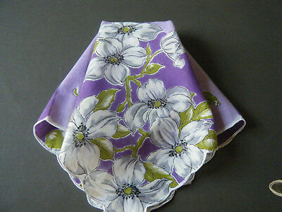 Vtg Hanky Handkerchiefs w dog wood printed flowers scalloped hem lavender color