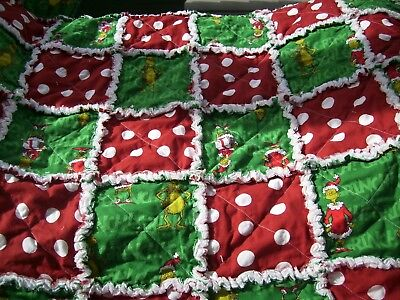 """Rag quilt blanket Baby toddler Dr. Seuss How the Grinch Stole Christmas 36""""x36"""""""