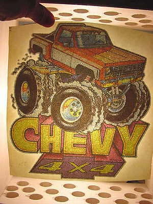"1978 Vintage Original ""Chevy 4X4"" Iron-on Transfer Unused Roach"