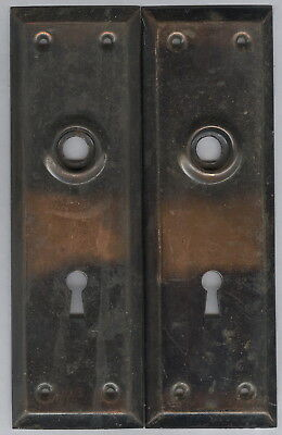Pair Antique Tin Plate Guards For Door Knob Assembly